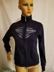 Harley Davidson Motorcycles Sweatshirt Womens Made In USA Blue F Z Small HD $25.26