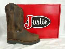 Justin Men#x27;s 4445 Balusters Pullon Bay Gaucho Steel Toe Work Boot USA Made $205 $205.00