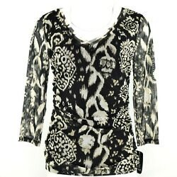 Inc International Concepts Blurred Vines Womens Blouse Ruched Black Size M NWT