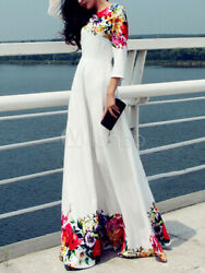 White Long Dress Long Sleeve Floral Maxi Dress New Size 4 $12.99