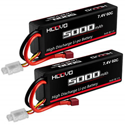 HOOVO 2S 5000mAh 7.4V 60C Lipo Battery RC Battery Hard Case with Deans Connector $34.46