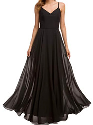 Valiamcep Womens Strap V Neck Prom Dresses Homecoming Long Chiffon Evening Ball