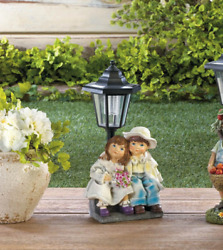 country girl boy outdoor statue lantern LED path SOLAR powered light lamp $36.00
