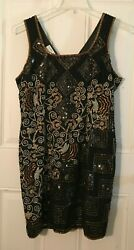 Night Vogue Sequin Beaded Cocktail Black Silver Gold Silk Party Evening Dress XL $34.99