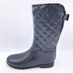 Hunter Womens Rainboots Blue Knee High Pull On Low Heel Buckle Strap 9 4041 $33.99