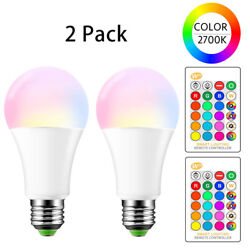 E26 LED Light Bulbs RGB Color Changing 15W A19 Warm White with Remote 2 Pack $11.99
