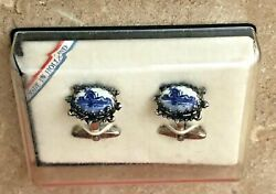 Vintage Cuff links made in Holland ceramic sets blue delfts style windmills $12.00