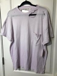 Free People Womens Med Lucky Purple Lavender Oversized Distressed Tee TShirt Top $14.99