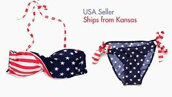 Stars and Stripes Twisted USA American Flag Padded Bikini Swimsuit 4th of July $9.99