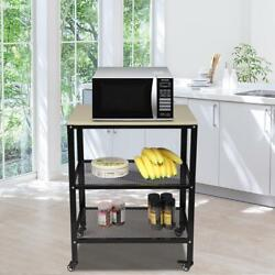 Kitchen Island Cart Trolley Portable Rolling 3-Tier Storage Dining Table Kitchen