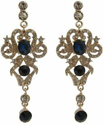 A Pair of Gold Crystal Embellished Chandelier Earrings Vintage Inspired Drops GBP 10.99