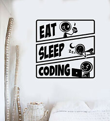 Vinyl Wall Decal Eat Sleep Coding Teenager Play Room Tablets Stickers g3409 $19.99