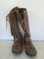 Youth Girls Knee High Lace up Stylish Boots Brown Size 13 Fashion Boots Brown $12.25