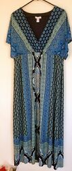 London Times Women's Blue Green Patterned Maxi Dress Short Sleeve Size XL NEW $24.99