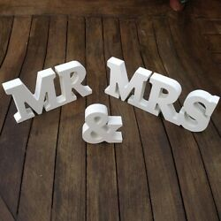 quot;Mr amp; Mrsquot; Classic White Wooden wedding Sign $9.99