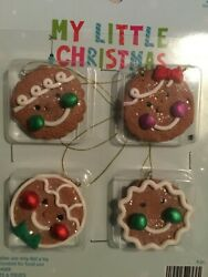 My Little Christmas Gingerbread Cookies 4 pc NEW Mini Christmas Tree Ornaments $4.99