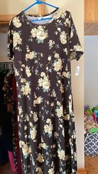 Lularoe Maria 2XL Floral Brown and Canary Yellow $40.00