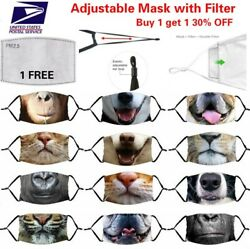 Funny 3D Animal Adjustable Cotton Face Mask Cover Washable Reusable with Filter $5.99