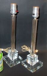 ART DECO PAIR GLASS Crystal LAMPS Skyscraoer $435.60