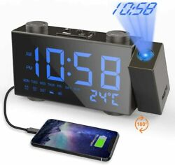 Moskee Projection LED Digital Dual Alarm Clocks for Bedroom with FM Radio $24.99