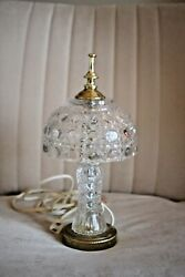 2 Vintage Table Lamp Cut Crystal Small Accent Ant 734 Brass Finished Metal $327.99