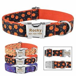 Dog Collar Personalized Engraved Name Halloween Puppy Boy Girl Adjustable SX M L $10.70