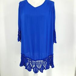 Baik Baik Honolulu Women#x27;s Beach Dress Cover Up Cobalt Blue Aloha Crochet Trim $24.00