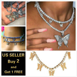 Fashion Butterfly Pendant Necklace Rhinestone Sweater Chain Women Crystal Choker $6.99