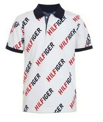 Tommy Hilfiger Designer Boys TH All Over Print Polo Shirt White Size 7
