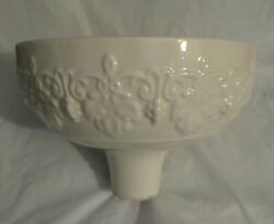 ANTIQUE LENOX IVORY EMBOSSED TORCHIERE LAMP SHADE GREEN WREATH 11.75quot; RARE $165.00