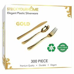 Stock Your Home 300 Pack Gold Plastic Cutlery 100 Forks 100 Knives 100 Spoons $28.99