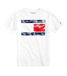 Tommy Hilfiger Designer Boys Flag Graphic Print T Shirt White Size S 8 10Y