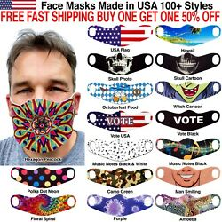 Face Masks Reusable Washable Cloth Colorful Patterns Fashion Funny Faces Stylish $7.99
