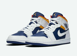 Nike Air Jordan 1 Mid Shoes Royal Blue Laser Orange White 554724 131 Men#x27;s NEW $160.99
