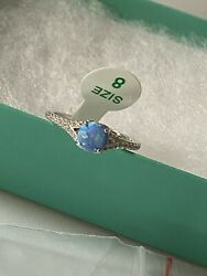 Ring Bomb Party Size 8 Baby Blue Fire Opal Srp $112 $24.99