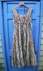 Sandy Starkman Bohemian Dress XL Sleeveless Brown Green Pink Print Cotton Lined $34.99