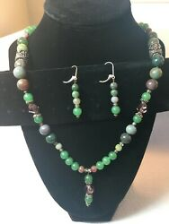 Handmade shades of green Bead Necklace and SS threader Dangle Earrings Set $17.99