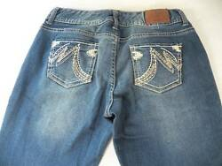 Maurices Size 5 Long Juniors Distressed Stretch Boot Cut Blue Denim Jeans $16.56