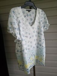 Zac amp; Rachel Blouse To Plus Size Floral Short Sleeve White Poly Blend NWT$62 $20.99