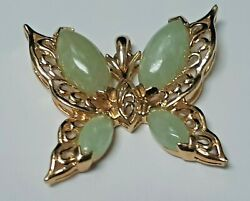 Meda Made Butterfly 14 Gold Pendant With 4 Green Jade Gems $750.00