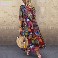 Plus Size Women Pleated Printed Long Maxi Sleeve Tunic Party Vintage Dresses $19.99