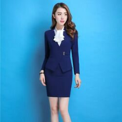 Single Breasted Slim Skirt Suits With Jackets Office Women Blazers Plus Size $35.99