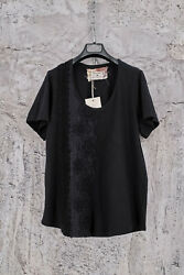 BY WALID BLACK JERSEY COTTON T SHIRT 18 19th CENTURY LACE AND CROCHET XL630$ $350.00