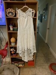 N MUADRESS Women#x27;s Sleeveless Hi Lo Lace Formal Dress Cocktail White $15.00