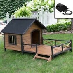 Outdoor Large Dog House With Heater Spacious Deck Porch Raised Floor Wood New $428.88