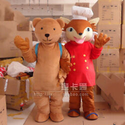 Fox and bear Mascot Costume Suits Cosplay Party Game Dress Outfits Clothing Ad $174.51