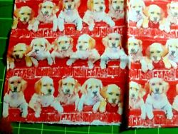 CHRISTMAS PUPPIES ON RED FABRIC 100% premium cotton 18quot;x22quot; FQ NEW precut $3.00
