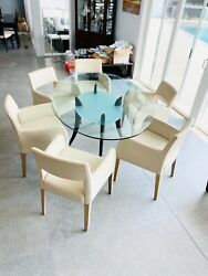 🐋HIgh End Mid Century Modern SleeK wOOd frame glass Dining TabLe ONLY $899.00