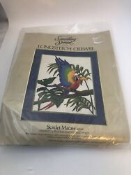 Something Special Scarlet Macaw Longstitch Crewel Vintage Kit #40169 $19.99