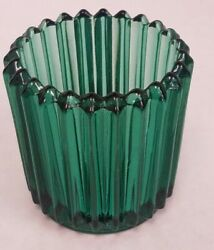 Vintage Ribbed Glass Light Votive Candle Holder Indiana Set of 2 Green $12.49